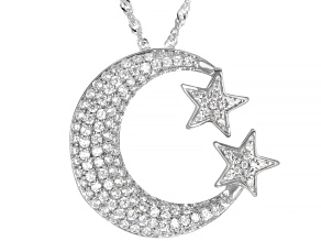 White Cubic Zirconia Rhodium Over Silver Moon And Star Pendant With Chain 1.57ctw (0.69ctw DEW)