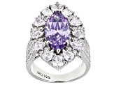 Purple And White Cubic Zirconia Rhodium Over Sterling Silver Ring 10.72ctw