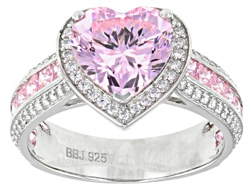 Picture of Pink and White Cubic Zirconia Rhodium Over Sterling Silver Heart Ring 6.66ctw