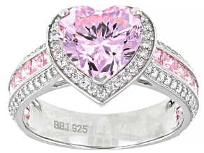 Pink and White Cubic Zirconia Rhodium Over Sterling Silver Heart Ring 6.66ctw