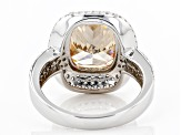 Champagne And White Cubic Zirconia Rhodium Over Sterling Silver Ring 11.38ctw