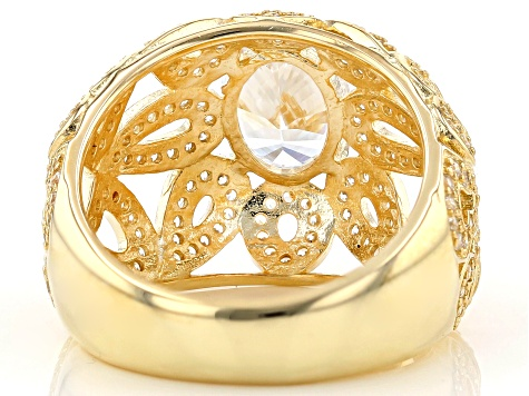 White Cubic Zirconia 18K Yellow Gold Over Sterling Silver Ring 4.59ctw