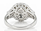 White Cubic Zirconia Rhodium Over Sterling Silver Ring 4.48ctw