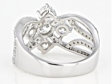 White Cubic Zirconia Rhodium Over Sterling Silver Ring 3.07ctw