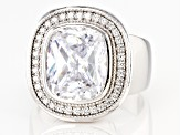 White Cubic Zirconia Rhodium Over Sterling Silver Ring 10.70ctw
