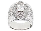 White Cubic Zirconia Rhodium Over Sterling Silver Ring 1.81ctw