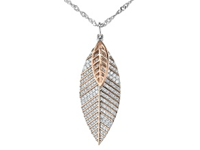 White Cubic Zirconia Rhodium And 18K Rose Gold Over Sterling Silver Leaf Pendant With Chain 1.38ctw