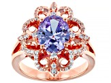 Lavender And White Cubic Zirconia 18k Rose Gold Over Sterling Silver Ring 5.00ctw