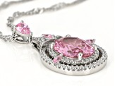 Pink And White Cubic Zirconia Rhodium Over Sterling Silver Pendant With Chain 5.60ctw