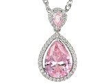 Pink And White Cubic Zirconia Rhodium Over Sterling Silver Pendant With Chain 2.40ctw
