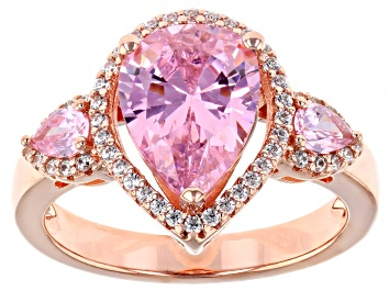 Picture of Pink And White Cubic Zirconia 18k Rose Gold Over Sterling Silver Ring 4.44ctw