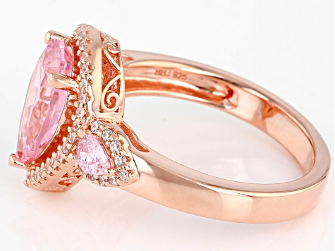 Pink And White Cubic Zirconia 18k Rose Gold Over Sterling Silver Ring 4.44ctw