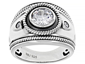 White Cubic Zirconia Rhodium Over Sterling Silver Ring 2.16ctw