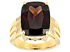 Brown And White Cubic Zirconia 18K Yellow Gold Over Sterling Silver Ring 16.31ctw