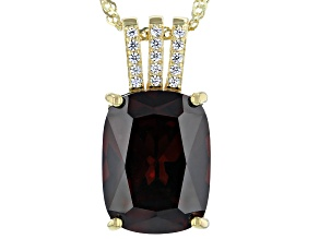 Brown And White Cubic Zirconia 18K Yellow Gold Over Sterling Silver Pendant With Chain 16.25ctw