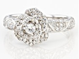 White Cubic Zirconia Rhodium Over Sterling Silver Flower Ring 1.53ctw (0.74ctw DEW)