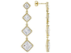 White Cubic Zirconia 18k Yellow Gold Dangle Earrings 12.36ctw (8.6ctw DEW)