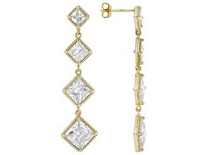 White Cubic Zirconia 18k Yellow Gold Dangle Earrings 12.36ctw (8.6ctw DEW)