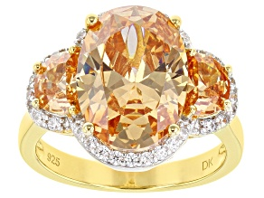 Champagne And White Cubic Zirconia 18K Yellow Gold Over Silver Ring 10.88ctw (6.99ctw DEW)