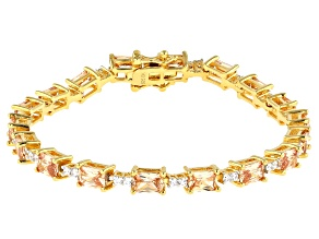 Brown And White Cubic Zirconia 18K Yellow Gold Over Silver Tennis Bracelet 19.40ctw (12.56ctw DEW)