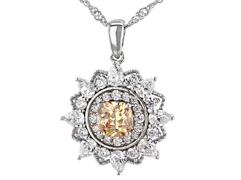 Champagne And White Cubic Zirconia Rhodium Over Sterling Pendant With Chain 4.64ctw (2.98ctw DEW)