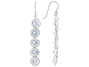 White Cubic Zirconia Rhodium Over Sterling Silver Dangle Earrings 33.60ctw (20.4ctw DEW)