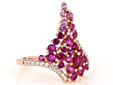 Pink Lab Sapphire And White Cubic Zirconia 18K Rose  Gold Over Sterling Silver Ring 1.90ctw