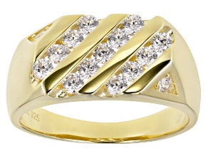 White Cubic Zirconia 18K Yellow Gold Over Sterling Silver Mens Ring 1.81ctw