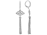 White Cubic Zirconia Rhodium Over Sterling Silver Tassel Earrings 1.05ctw (0.59ctw DEW)