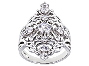 White Cubic Zirconia Rhodium Over Sterling Silver Ring 2.52ctw