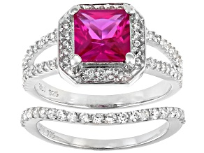 Lab Created Pink Sapphire And White Cubic Zirconia Rhodium Over Silver Ring With Band 2.85ctw