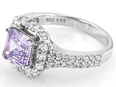 Asscher Lavender Cut And White Cubic Zirconia Rhodium Over Silver Ring 4.50ctw (2.78ctw DEW)