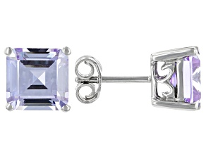 Asscher Cut Lavender Cubic Zirconia Rhodium Over Silver Stud Earrings 9ctw (6.02ctw DEW)