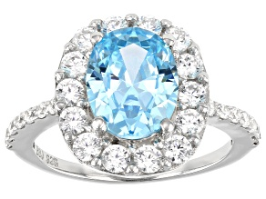 Blue And White Cubic Zirconia Rhodium Over Sterling Silver Ring 6.20ctw (3.59ctw DEW)