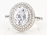 White Cubic Zirconia Rhodium Over Sterling Silver Ring 5.82ctw (2.66ctw DEW)