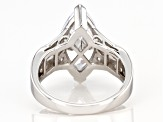 White Cubic Zirconia Platinum Over Sterling Silver Ring 6.69ctw (4.16ctw DEW)