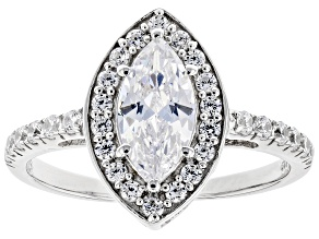White Cubic Zirconia Rhodium Over Sterling Silver Ring 2.29ctw (1.31ctw DEW)