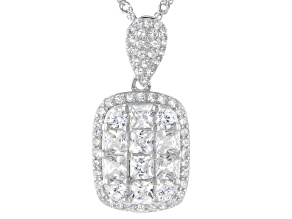 White Cubic Zirconia Rhodium Over Sterling Silver Pendant With Chain 2.39ctw