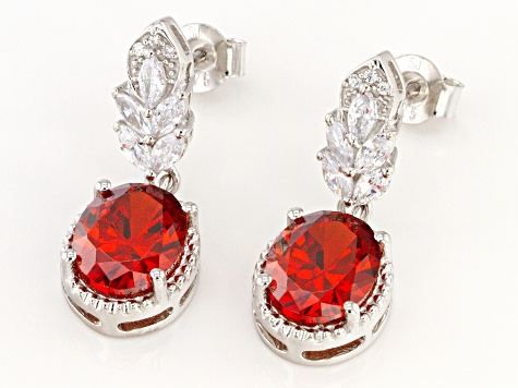 Red And White Cubic Zirconia Rhodium Over Sterling Silver Earrings 5.58ctw