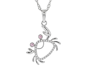 Pink And White Cubic Zirconia Rhodium Over Silver Crab Pendant With Chain 0.33ctw (0.17ctw DEW)