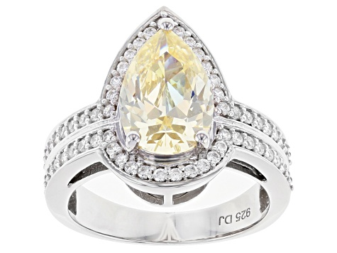 Yellow And White Cubic Zirconia Rhodium Over Sterling Silver Ring 5.88ctw
