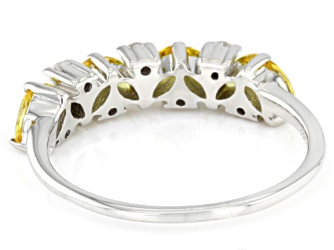 Yellow And White Cubic Zirconia Rhodium Over Sterling Silver Ring 1.24ctw