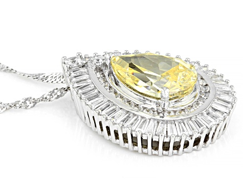 Yellow And White Cubic Zirconia Rhodium Over Sterling Silver Pendant With Chain 12.14ctw