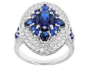 Blue And White Cubic Zirconia Rhodium Over Sterling Silver Ring 4.07ctw