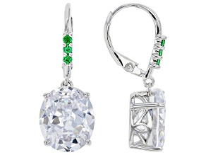 Green And White Cubic Zirconia Rhodium Over Sterling Silver Earrings 15.01ctw (10.22ctw DEW)