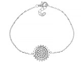 White Cubic Zirconia Rhodium Over Sterling Silver Sunflower Bracelet 0.90ctw (0.58ctw DEW)