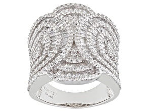 White Cubic Zirconia Rhodium Over Sterling Silver Ring 6.80ctw