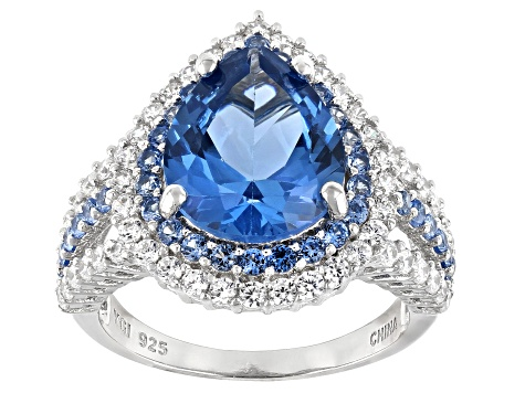 Blue And White Cubic Zirconia Rhodium Over Sterling Silver Ring 6.34ctw