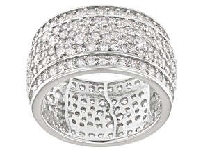 White Cubic Zirconia Rhodium Over Sterling Silver Band Ring 6.56ctw