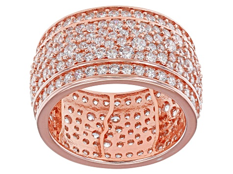 White Cubic Zirconia 18K Rose Gold Over Sterling Silver Band Ring 6.56ctw